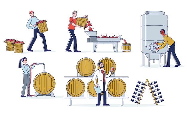 Concepto de producción de vino. enólogos trabajan en la planta de vino. los personajes están cosechando, triturando uvas, fermentando mosto, envejeciendo y llenando vino.