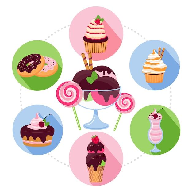 Concepto de productos dulces de dibujos animados
