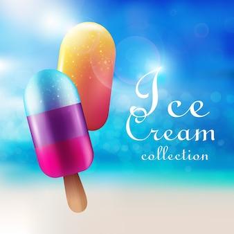 Concepto de productos de helado colorido con sabor a paletas en azul brillante