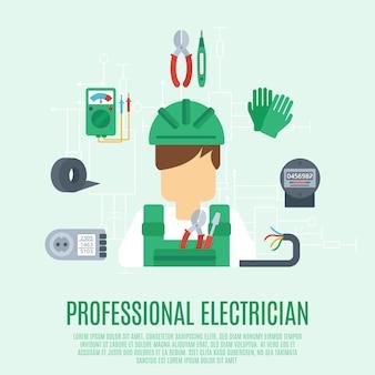 Concepto profesional de electricista