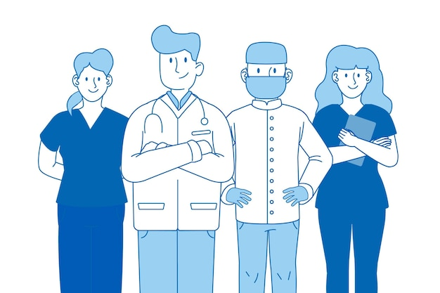 Concepto profesional del equipo profesional de salud azul