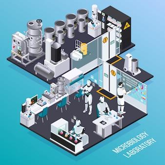 Concepto de profesiones isométricas de robot con microbiología empleadores de robots en sala aislada de laboratorio