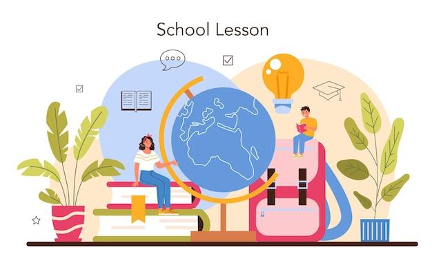 Concepto de profesor. profesor dando una lección en un aula. colegio