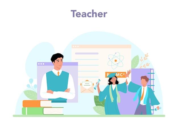 Concepto de profesor. profesor dando una lección en línea o en un aula.