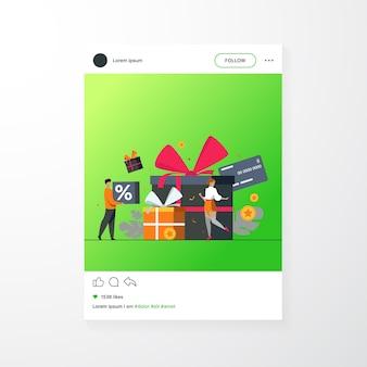 Concepto de programa de fidelización. personas que reciben regalos y recompensas de la tienda, puntos de bonificación, descuentos. ilustración de vector plano para promoción, comercio, venta, temas de marketing