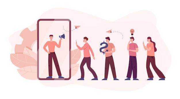 Concepto de programa de referencia. personas que ganan dinero y trabajan en marketing de referidos. asociación comercial, estrategia de programa de referencia y concepto de desarrollo. ilustración vectorial
