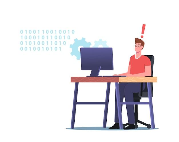 Concepto de programación y codificación de sitios web. búsqueda y corrección de errores, depuración, desarrollo web, pruebas de software. programa de prueba y corrección de errores de carácter del desarrollador. ilustración de vector de gente de dibujos animados