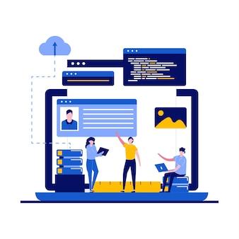 Concepto de programación y diseño web con carácter.