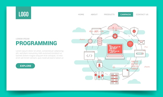 Concepto de programación con icono de círculo para plantilla de sitio web