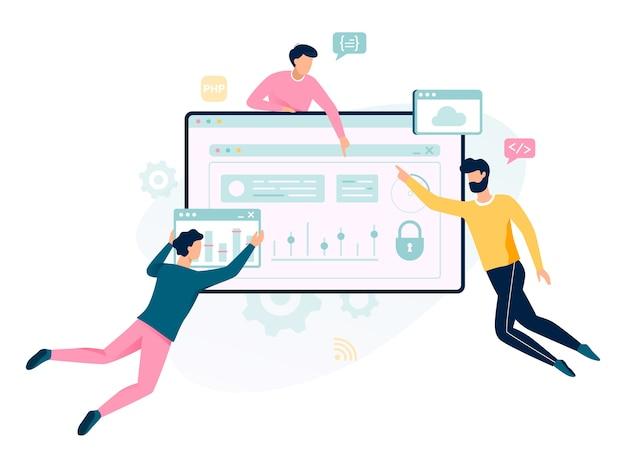 Concepto de programación. idea de trabajar en computadora, codificación y desarrollo de páginas web. ilustración