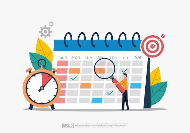 Concepto de programación y planificación, planificación del tiempo comercial, ilustración de eventos y grupos de trabajo