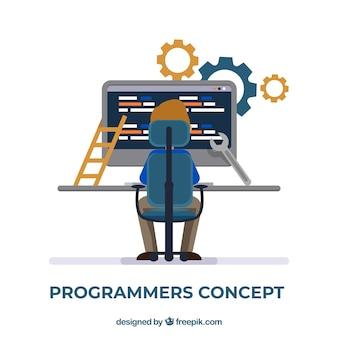 Concepto de programadores con diseño plano