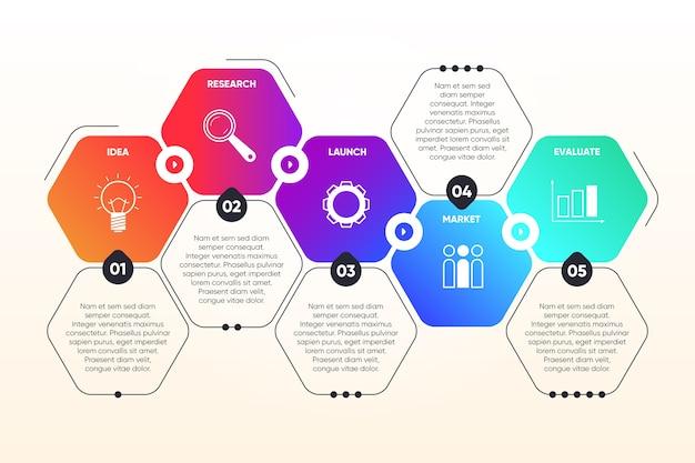 Concepto de progreso de infografía de pasos