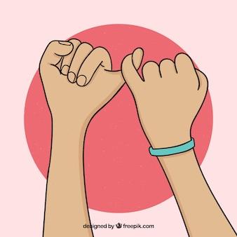 Concepto de promesa de meñique dibujado a mano