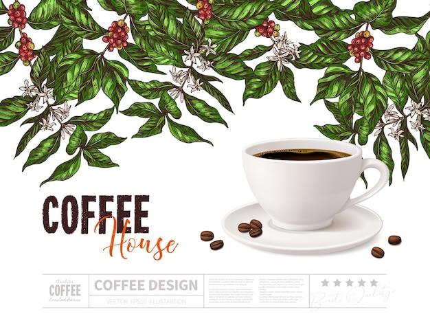 Concepto de promoción de café con taza de bebida sobre fondo blanco.