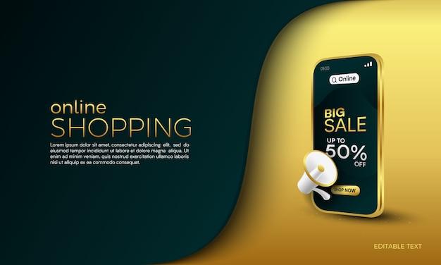 Concepto de promoción de compras en línea de gran venta en aplicaciones móviles o web