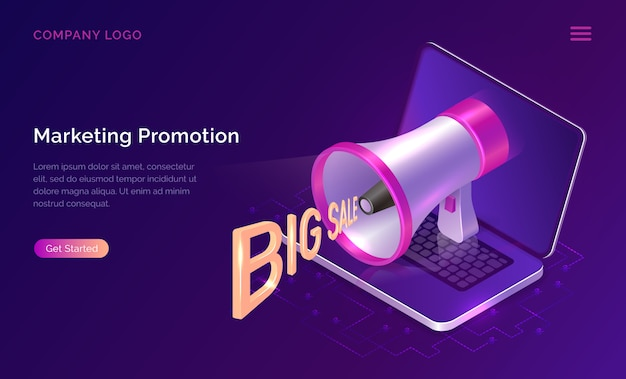 Concepto de promoción de marketing, megáfono isométrico