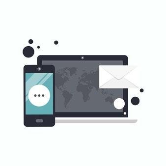 Concepto de promoción y publicidad de marketing digital.