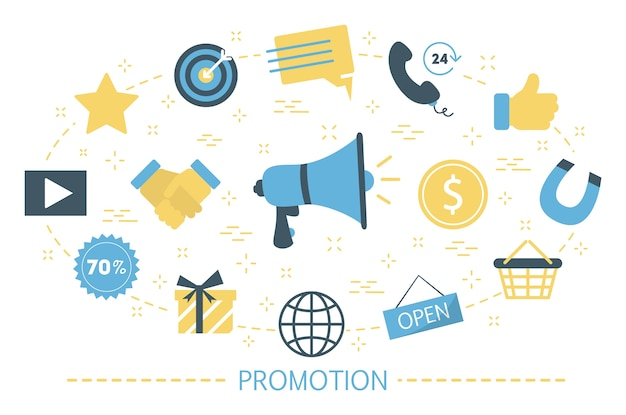 Concepto de promoción social. idea de publicidad en redes sociales