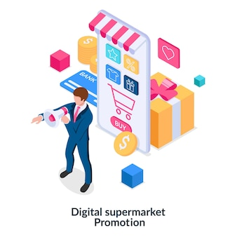 Concepto de promoción de supermercados digitales publicidad de bienes y servicios