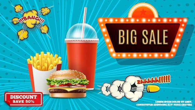 Concepto promocional de comida rápida con papas fritas realistas, hamburguesa de soda, gran venta, banner de neón, burbuja de discurso cómico, bala, efectos explosivos y de semitono, ilustración