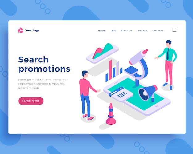 Concepto de promociones de búsqueda