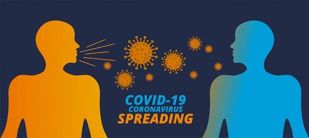 Concepto de propagación del coronavirus covid-19 de humanos a humanos