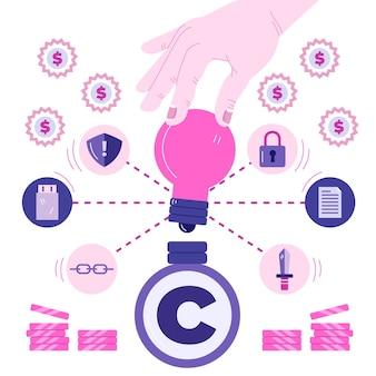 Concepto de propiedad intelectual con bombilla de mano