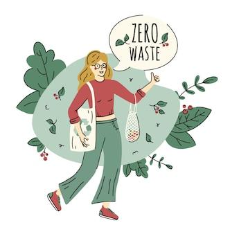 Concepto de protección cero residuos y ecología en estilo doodle con mujer