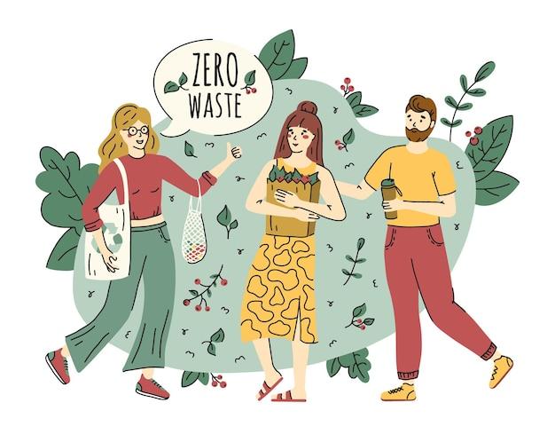 Concepto de protección cero residuos y ecología en estilo doodle