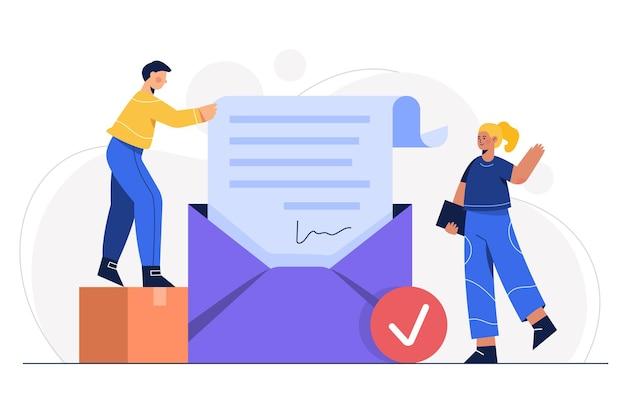 Concepto de protección de correo electrónico de ilustración. correo electrónico: sobre con documento de archivo y archivo adjunto aprobado por la seguridad del sistema.