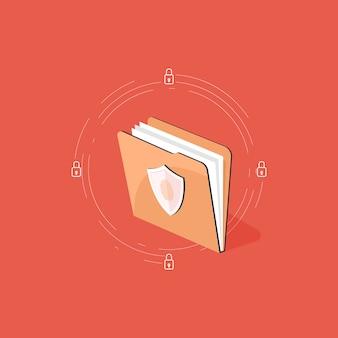 Concepto de protección de datos, documento de seguridad de carpeta de archivo e ilustración de seguridad de datos