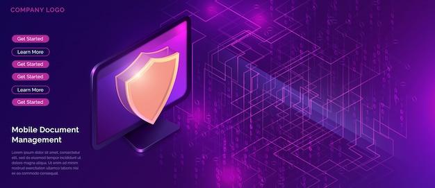 Concepto de protección de datos, garantía de seguridad en línea.