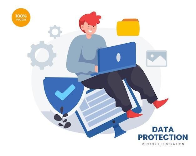 Concepto de protección de datos con el hombre de negocios para tecnología de seguridad con candado y escudo simbólico.