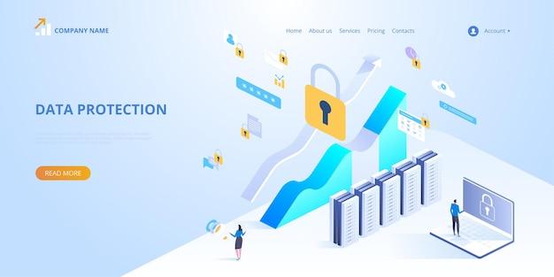 Concepto de protección de datos. ilustración isométrica para landi