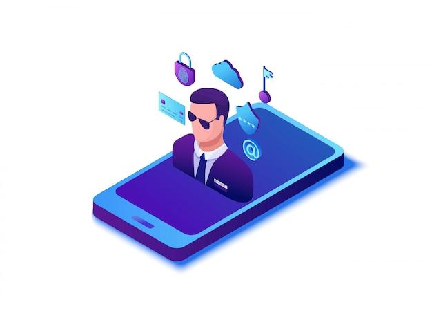 Concepto de protección de datos, ilustración vectorial isométrica 3d de seguridad cibernética, ataque de firewall, estafa de suplantación de identidad