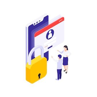Concepto de protección de datos isométrica con bloqueo de ventana de inicio de sesión de padres e hijos 3d
