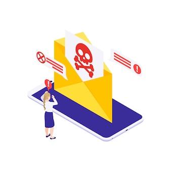 Concepto de protección de datos con una mujer en pánico que recibe un mensaje de spam en el teléfono inteligente isométrico