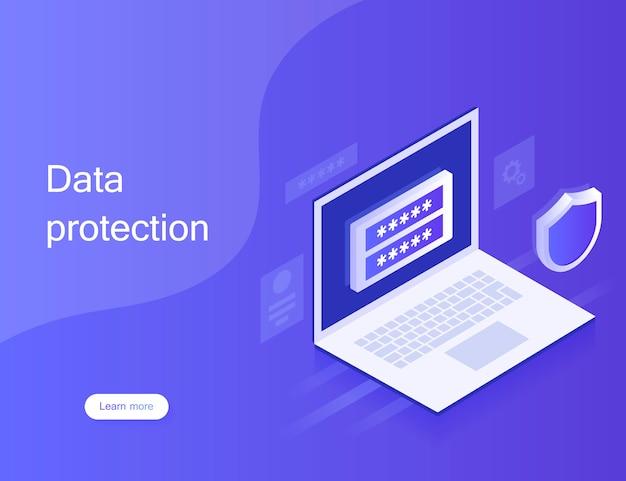 Concepto de protección de datos personales, banner web. ciberseguridad y privacidad. traffic encryption, vpn, privacy protection antivirus. ilustración moderna en estilo isométrico.