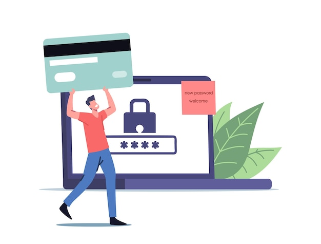 Concepto de protección de datos personales. pequeño personaje masculino con una enorme tarjeta bancaria en una computadora portátil con candado en la pantalla y una contraseña débil para el perfil de internet y el acceso a la cuenta. ilustración de vector de gente de dibujos animados