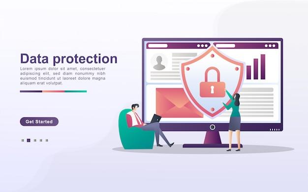 Concepto de protección de datos. las personas aseguran la gestión de datos y protegen los datos de ataques de piratas informáticos. haga una copia de seguridad y guarde datos importantes. se puede usar para la página de destino web, banner, aplicación móvil.