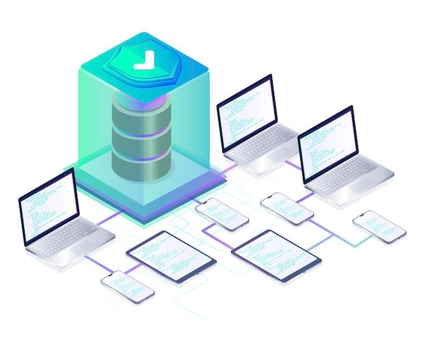 Concepto de protección de datos protección de seguridad de datos protección de seguridad y antivirus centro de datos