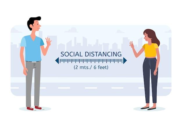 Concepto de protección de distanciamiento social