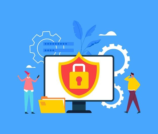 Concepto de protección de información de datos de seguridad de internet.