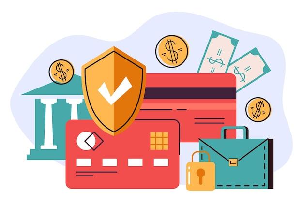 Concepto de protección de seguridad de tarjeta de crédito de banca de dinero ilustración gráfica de dibujos animados planos vectoriales