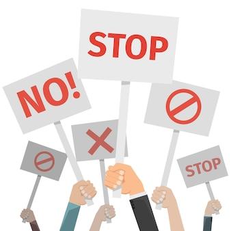 Concepto de protesta. manos sosteniendo diferentes carteles, no y detenerse, cruzar y prohibir.