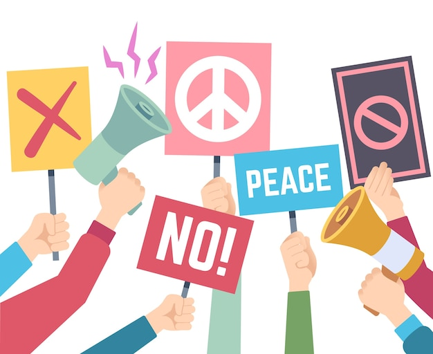 Concepto de protesta. las manos sostienen diferentes pancartas y megáfonos, piquete de protesta, personas de derechos, carteles de crisis política, grupo humano, firma con ilustración de papel
