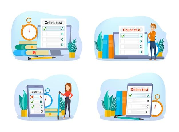 Concepto de prueba en línea. prueba en la computadora. educación y aprendizaje con dispositivo digital. ilustración de vector aislado