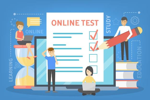 Concepto de prueba en línea. prueba en la computadora