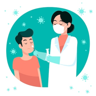 Concepto de prueba de torunda nasal
